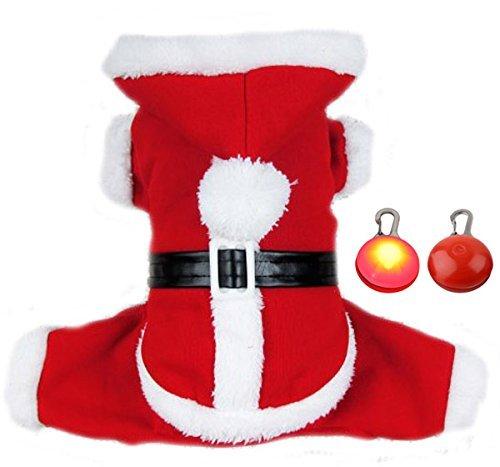 nachts Mantel Haustier Hund In Santa Kostüm Ausstattung Mit Einem Haustier LED Blinkt Tag -XL ()