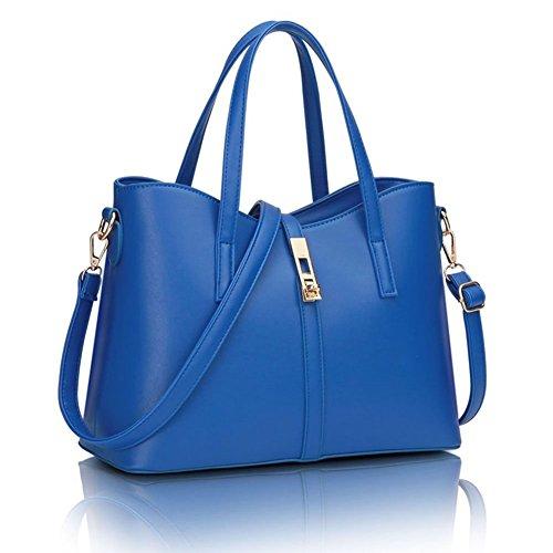 YipGrace Donne Moda Semplice Stile Grande Capacità Tote Borsetta Borsa A Tracolla Valigetta Zaffiro Blu