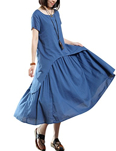 Youlee Damen Sommer Frühling Kurzarm Baumwoll Leinen Kleid Blau