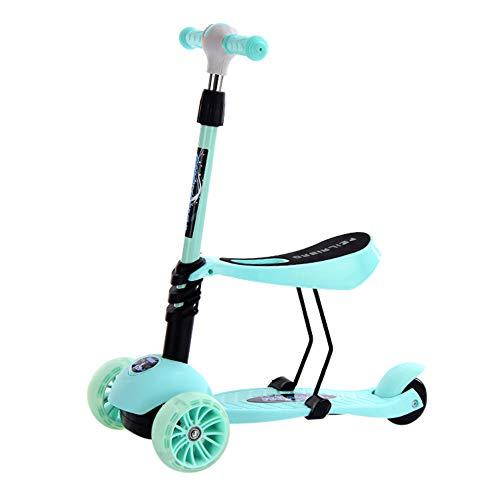 WCYTOYS Kinder-Roller 3-in-1 Kinder-Kick-Roller Verstellbar 3-Rad-Kick-Roller Mit Abnehmbarem Verstellbarem Sitz LED-Leuchten Mit Rädern Jungen Und Mädchen (2-6 Jahre) (grün/Blau/Pink)