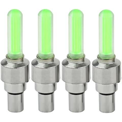 4x Alta Calidad Neon Fuerte Potencia LED válvula tapa bicicleta rueda Válvula de Auto Válvula Llantas lámpara de luz