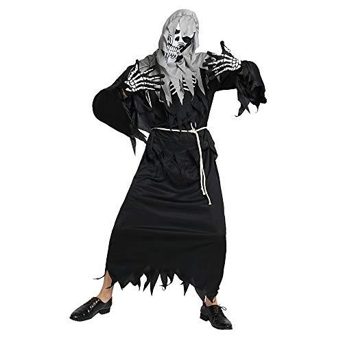 ChenYi Halloween Skelett/Skull Ghost Kostüm Unisex Halloween Karneval Masquerade Festival/Holiday Polyster Outfits Schwarz - Gespenstische Geist Ghost Kostüm
