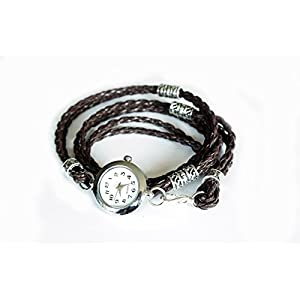 Wickeluhr, Armbanduhr mit Wickelarmband aus geflochtenem dunkelbraunem Lederband