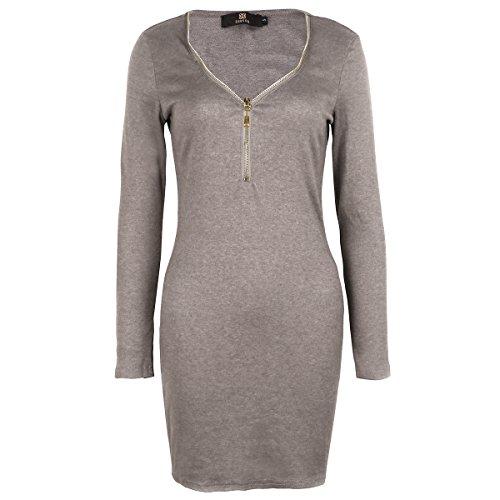 Mini Kleid mit tiefer V-Kragenschnitt Brown