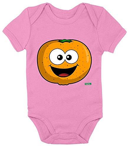 HARIZ Baby Body Kurzarm Mandarine Lachend Früchte Sommer Inkl. Geschenk Karte Bubblegum Pink 0-3 Monate
