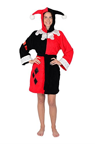 Robe Factory DC Comics Harley Quinn Kostüm Fleece Hooded Bademantel