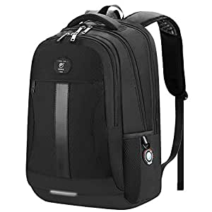 Laptop Backpack, Business Travel Anti-Theft 15.6-Inch Rucksack with USB Charging/Headphone Port, Water Resistant Large College School Computer Bag Work Backpack for Men/Women, Black-[Upgraded]