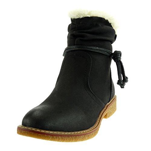 Angkorly Shoes Fashion Botines Botas De Nieve Botas De Mujer Cavalier Hebilla De Encaje De Piel Block Heel 2.5 Cm Forrado De Piel Negra
