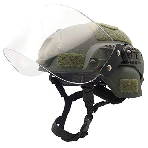 WLXW Airsoft Paintball Taktischer Helm, MICH2000 Army Combat Fast Helm, Mit Sonnenschutzbrille Für Die CS-Kriegsjagd, Schießschutzausrüstung,Green