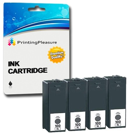 4 XL SCHWARZ Druckerpatronen für Lexmark Impact, Interact, Interpret, Intuition, Genesis, Prospect Pro, Prevail Pro, Prestige Pro, Pinnacle Pro, Platinum Pro | kompatibel zu Lexmark 100XL 105XL 108XL (Lexmark Patrone Xl 100)