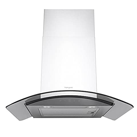 Homgeek Cooker Hood Kitchen Ventilator Stainless Steel Range Hood Extractor Fan with Push Button Control with 2 LED