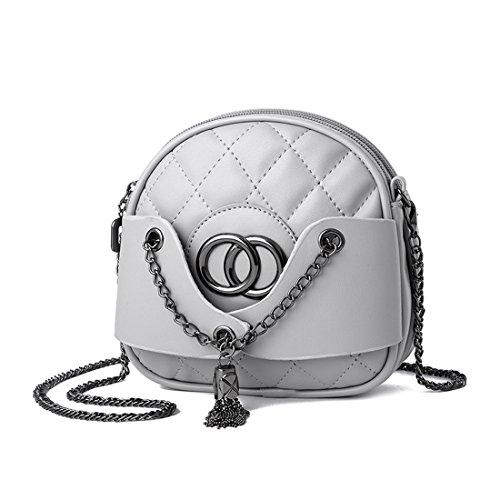 Ruiren Multifunktions Metall Kette Soft Tasche Portable Schultertasche Frauen Messenger Bags Frauen Handtasche Schultertasche Grau