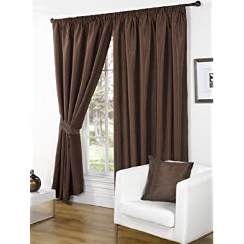 Luxury Faux Silk Slubbed Chocolate Fully Lined Readymade Curtain Pair  66x90in(167x228cm) Including One Pair Of Co Ordinating Tiebacks.