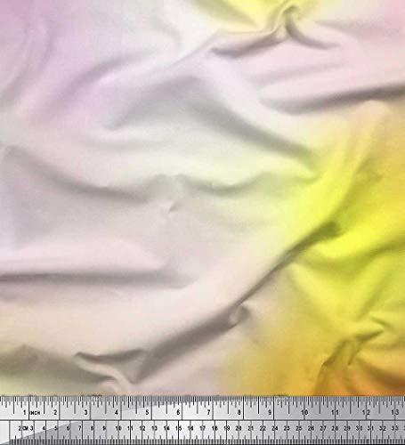 Soimoi Gelb Kreppseide Stoff Ombre tie-Farbstoff Stoff drucken 1 Meter 42 Zoll breit (Gelb Stoff Farbstoff)