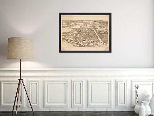 1876 Map Norfolk- Dedham Blick auf Dedham, Masse. 1876 Vogelaugenblick, Vintage-Stil, Kunst-Reproduktion, fertig zum Einrahmen -