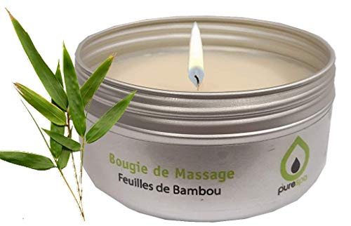 Massagekerze Feuille de Bambus, 100% pflanzliches, ohne Parabene, langlebig -