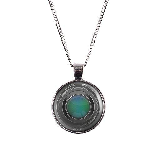 Mylery Hals-Kette mit Motiv Objektiv Digital-Kamera DSLR Linse silber 28mm - Durchmesser Objektiv