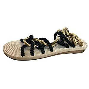 Innerternet Women Summer Sandals Ladies Hemp Rope Flat Lace Beach Slippers Casual Open Toe Rome Sandals (39, Black)   3
