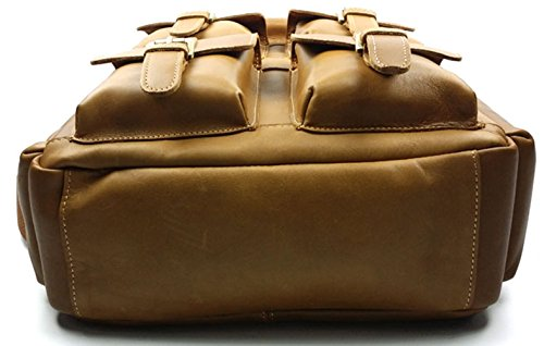 insum Herren Leder Vintage Ourdoor Rucksack Yellowish Brown