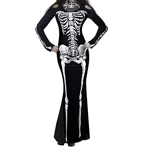 SilenceID Frauen Halloween kostüm Skeleton Print Cosplay Party Dress Langarm Rundhalsausschnitt Halloween kostüm Dress (Slutty Frauen Kostüm)