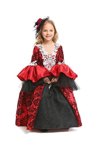 Fanessy. Mädchen Damen Vampir Kostüm Maskerade Dress Up Mittelalterlichen Gothic Retro Maxikleid Viktorianischen Königin Kostüm Erwachsene Kinder Verkleidung Cosplay für Fasching Halloween Karneval (Viktorianisches Gothic Mädchen Kostüm Halloween)