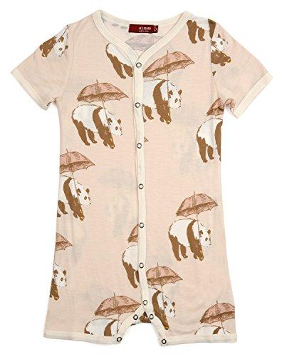 Milkbarn kurzarm Kinder-Schlafanzug Overall mit Druckknöpfen aus Bambus Panda pink 3-6M