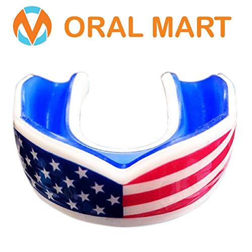 Oral Mart USA Flag paradenti per Bambini - Sport Bandiera Americana Gioventù boccaglio per Bandiera Calcio, Karate, (età 11 & sotto) Americano