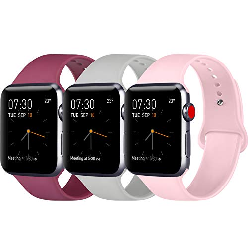 3 Pack-serie (ATUP Armband Kompatibel für Watch Armband 38mm 42mm 40mm 44mm, Weich Silikon Ersatz Armband für iWatch Series 4, Series 3, Series 2, Series 1 (3-Pack Wine red+Grey+Pink, 42mm/44mm-S/M))