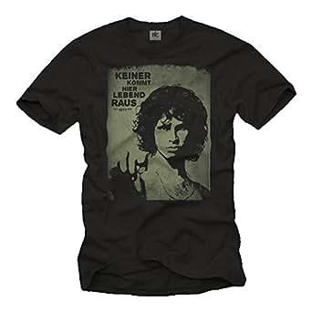 Musik T-Shirts für Männer Woodstock MORRISON schwarz Größe XXXL