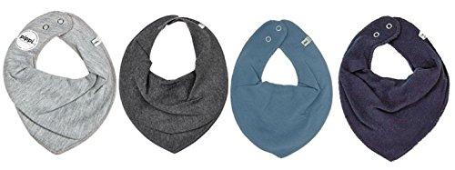 Pippi 4er Set Baby Dreieckstuch Halstuch Lätzchen 4 Stück * verschiedene Farbkombinationen (GRAU BLAU - hellgrau darkgrey jeansblau dunkelblau)