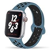 VIKATECH Compatible pour Bracelet Apple Watch 44mm 42mm, Engrener Bracelet Sport Doux in Silicone Remplacement pour iWatch Series 4/3/2/1, Taille M/L, Celestial Teal/Black