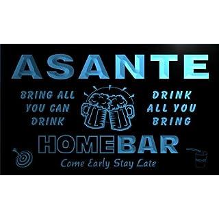 q01447-b ASANTE Family Name Home Bar Beer Mug Cheers Neon Light Sign