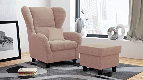 lifestyle4living Ohrensessel mit Hocker in Rosa im Landhausstil | Der perfekte Sessel für entspannte, Lange Fernseh- und Leseabende. Abschalten und genießen!