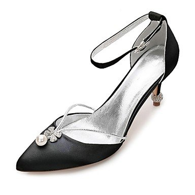 Wuyulunbi@ Scarpe donna raso Primavera Estate & in due pezzi della pompa base Comfort cinturino alla caviglia scarpe matrimonio Punta strass Nero