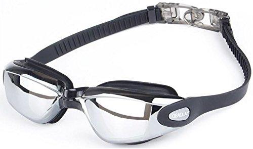 Schwimmbrille für Erwachsene Schwarz | Verspiegelte Gläser, Antibeschlag, verstellbares Kopfband...