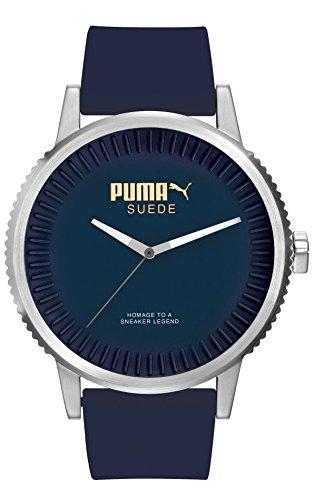 Puma Time Herren-Armbanduhr 10410 SUEDE - DENIM BLUE Analog Quarz Silikon PU104101003