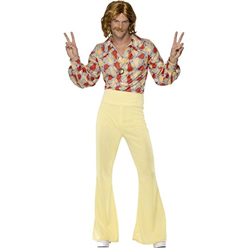 Smiffys Déguisement Homme, Hippie branché des années 60, avec chemise et pantalon à pattes d'éléphant taille haute, Taille M, 39436