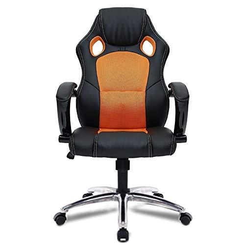 Teen Schreibtisch Orange (Cqu Vorsitzender, Computer Büro Schreibtisch Stuhl Heimspiel Freizeit Rückenlehne Drehstuhl mit Aluminiumlegierung Füße for Erwachsene Frauen Männer Teens (Farbe : Orange))