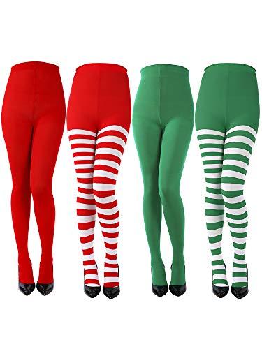 4 Paar Damen Weihnachten Gestreiften Strumpfhosen Oberschenkel Hohe Socken Strumpfhosen für Weihnachten Cosplay Themenparty (Farbe A)