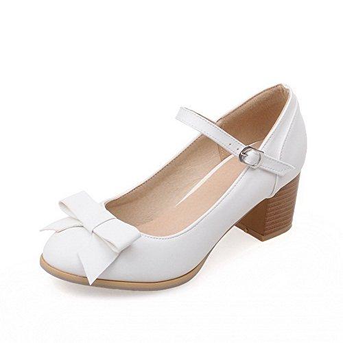 AllhqFashion Femme Boucle à Talon Correct Pu Cuir Couleur Unie Rond Chaussures Légeres Blanc