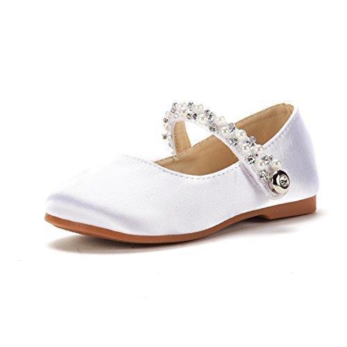 DREAM PAIRS Baby Mädchen Mary Jane Pearl Ballerina Flache Schuhe Weiß Größe 10 M US Toddler / 27 EU Aurora_01 (Mädchen Ballet Flat)