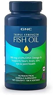 GNC Triple Strength Fish Oil 1500mg Omega-3 Supplement- 1500mg of Omega 3s including 540 mg EPA & 360 mg D