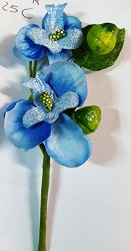 Confezione 25 fiori, bomboniera pick rametto orchidea, segnaposto confetti. (ck897) (celeste)