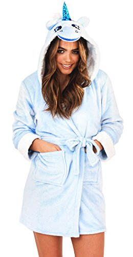 Loungeable, Damen Luxus-vlies Super Weich Freizeit Nachtwäsche Robe, Mehrere Muster, Styles Blue Unicorn Hooded Robe