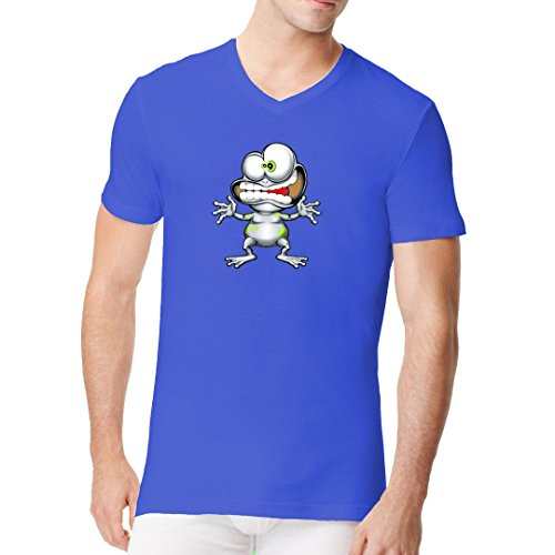 Fun Sprüche Männer V-Neck Shirt - Crazy Frog by Im-Shirt - Royal S (Crazy Frog T-shirts)