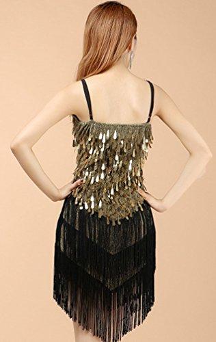 YiJee Damen Latein Salsa Quaste Pailletten Kleid Ballroom Wettbewerb Dancewear Schwarzes Gold - 2