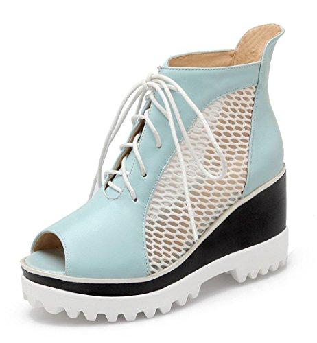 YE , Escarpins peep-toe femme Bleu