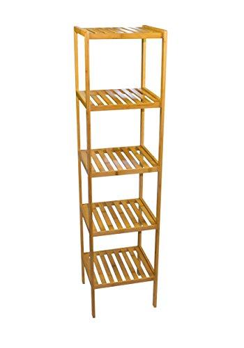 Sunny Times Badregal aus Holz HBT: 140 x 34 x 34 cm Küchenregal mit 5 Ablagen Haushaltsregal zum Aufbewahren oder Lagern Standregal Bücherregal aus Bambus natur