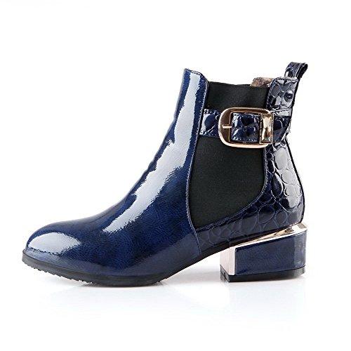 AllhqFashion Damen Pu Leder Niedrig-Spitze Rein Ziehen Auf Niedriger Absatz Stiefel Blau