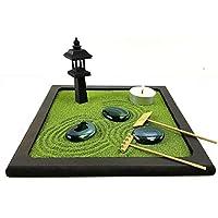 Bonseki® Piccolo Giardino zen da tavolo in legno 20x20 cm, con lanterna giapponese. Personalizzabile, visualizza le opzioni.